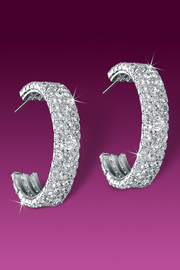 Stunning Triple Row Crystal Rhinestone Hoop Earrings
