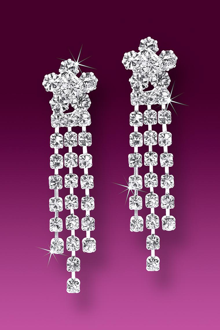 Flower Power Crystal Rhinestone Earrings - Pierced