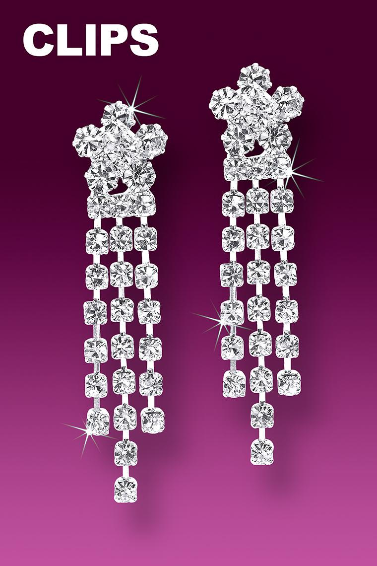 Flower Power Crystal Rhinestone Earrings - Clip-On