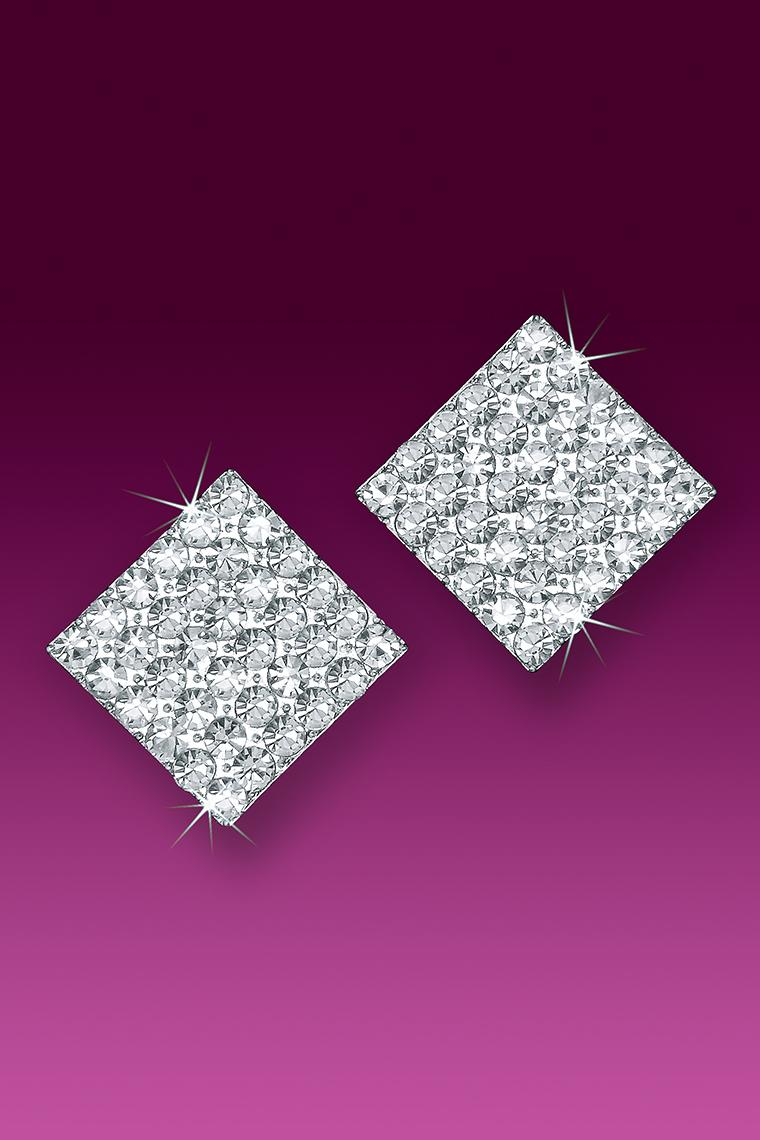 Large Square Crystal Rhinestone Earrings - Pierced