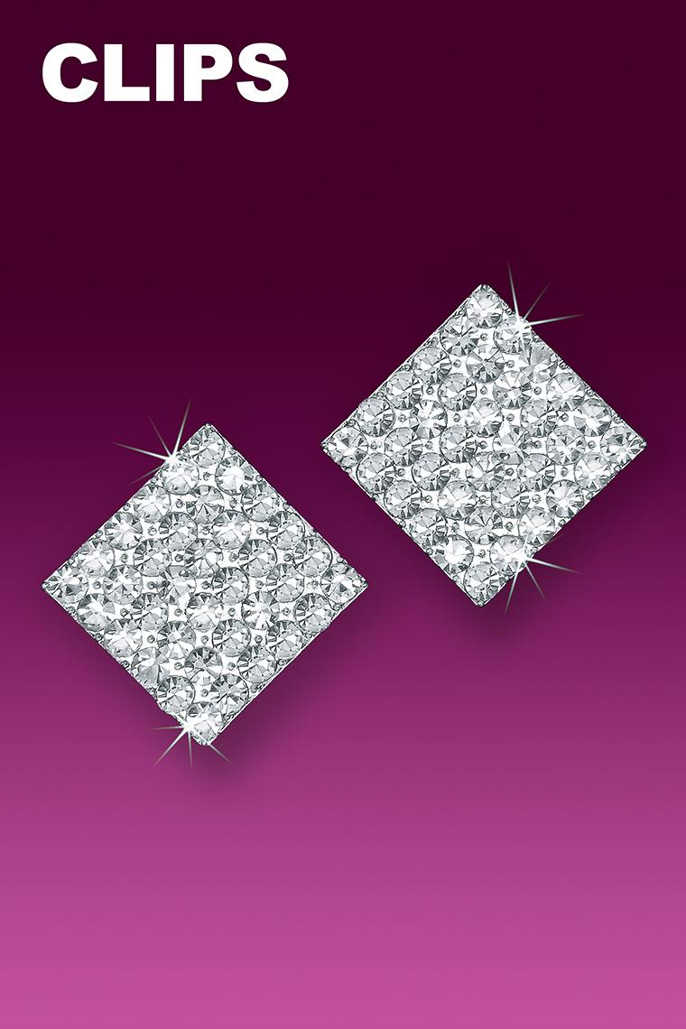 Large Square Crystal Rhinestone Earrings - Clip-On