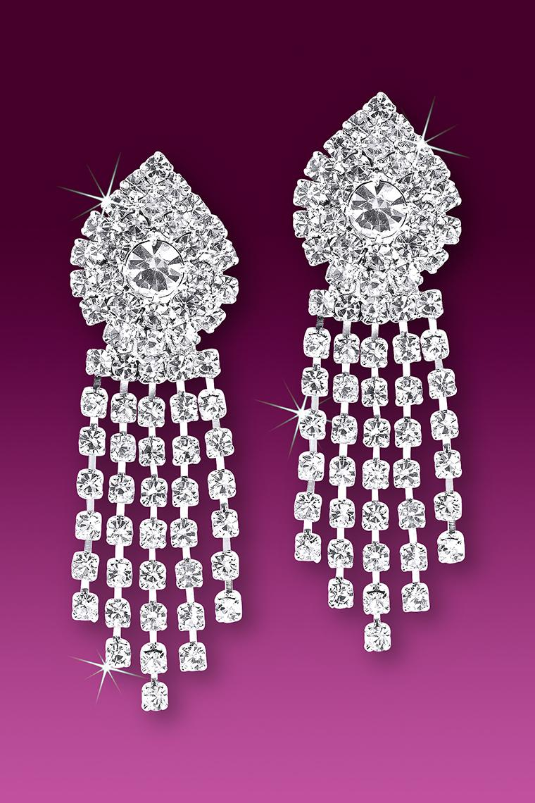 Show Stopper Rhinestone Dangle Earrings - Pierced