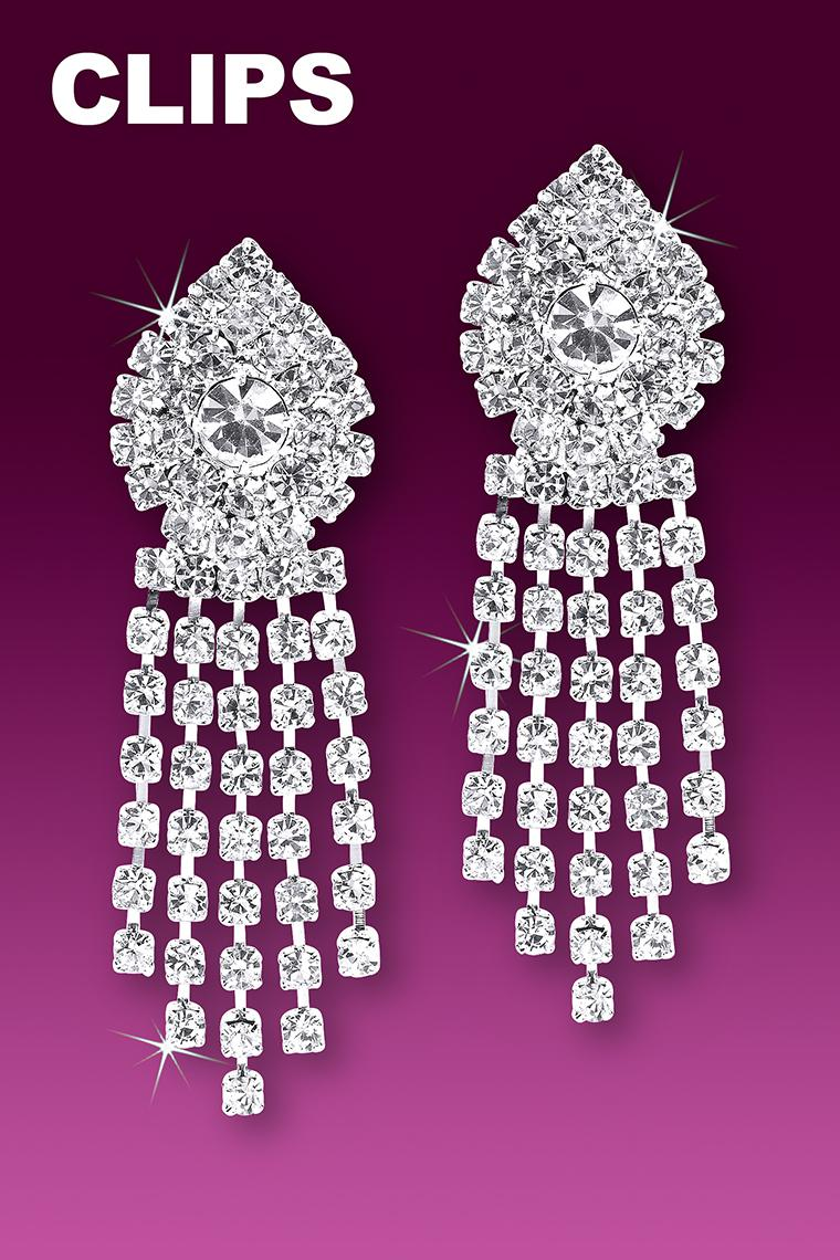 Show Stopper Rhinestone Dangle Earrings - Clip-On
