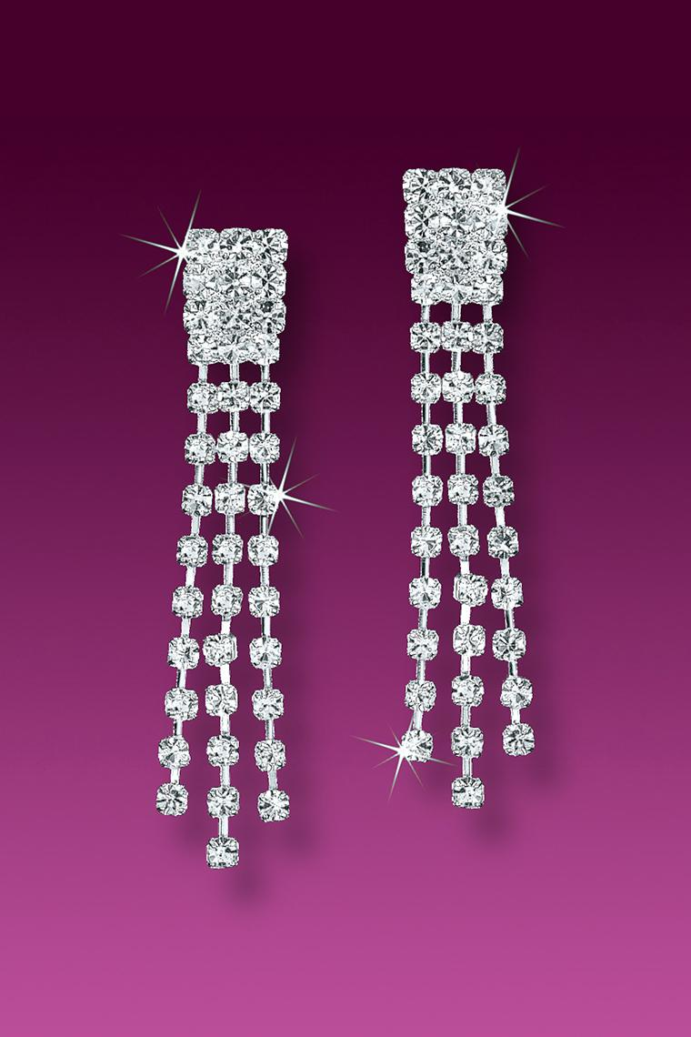 Classic Triple Row Crystal Rhinestone Chain Earrings