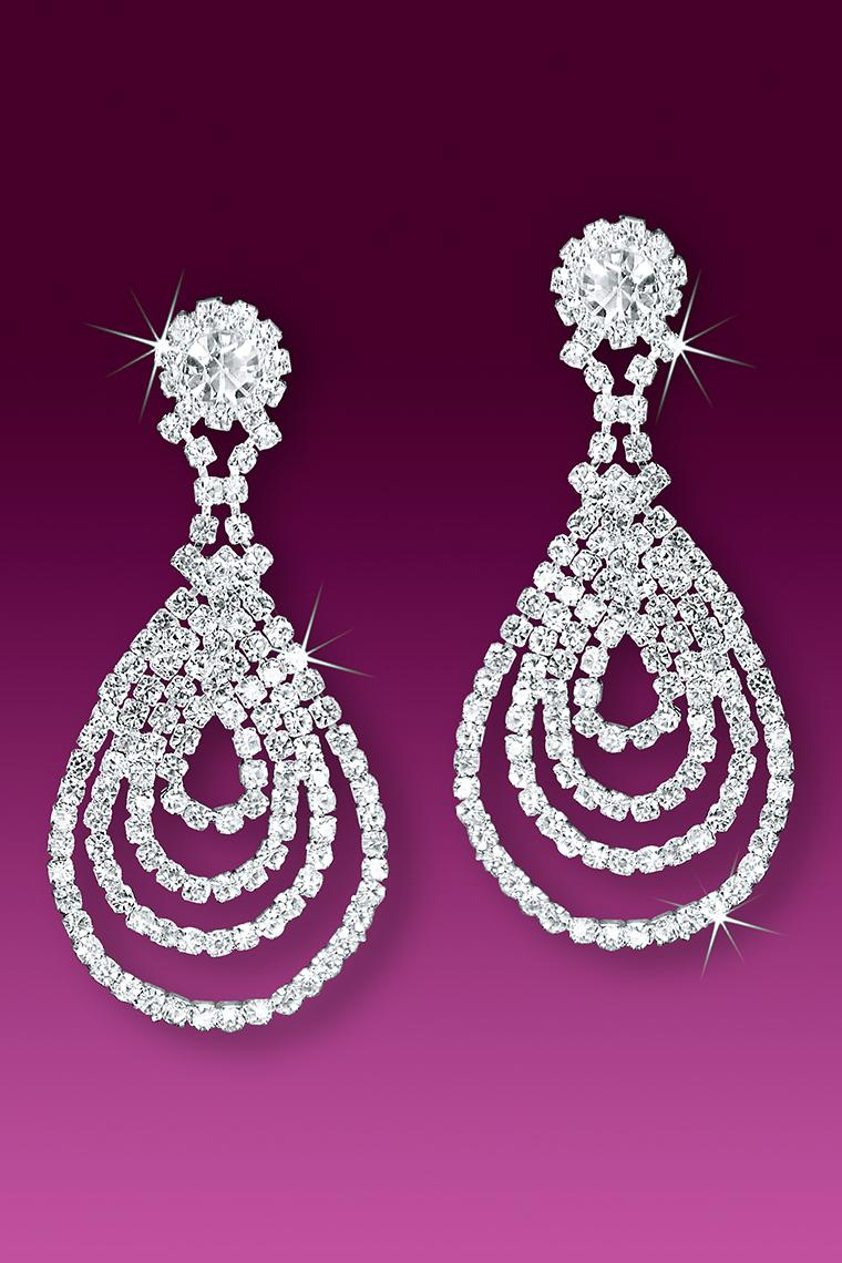 Cascading Rhinestone Pear Drop Earrings - Pierced