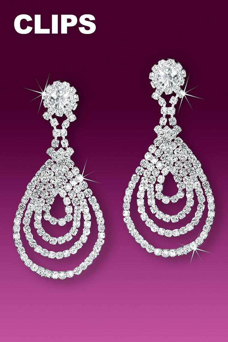 Cascading Rhinestone Pear Drop Earrings - Clip-On