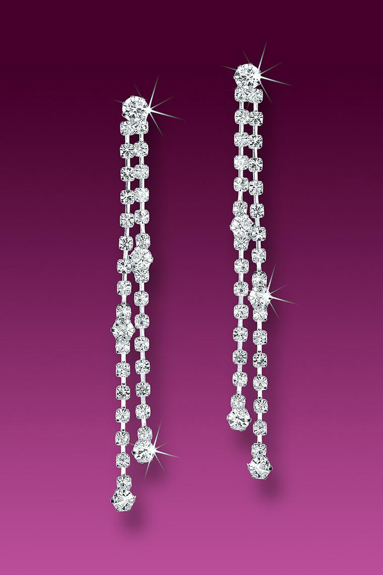 Pretty Crystal Rhinestone Drop Strand Earrings