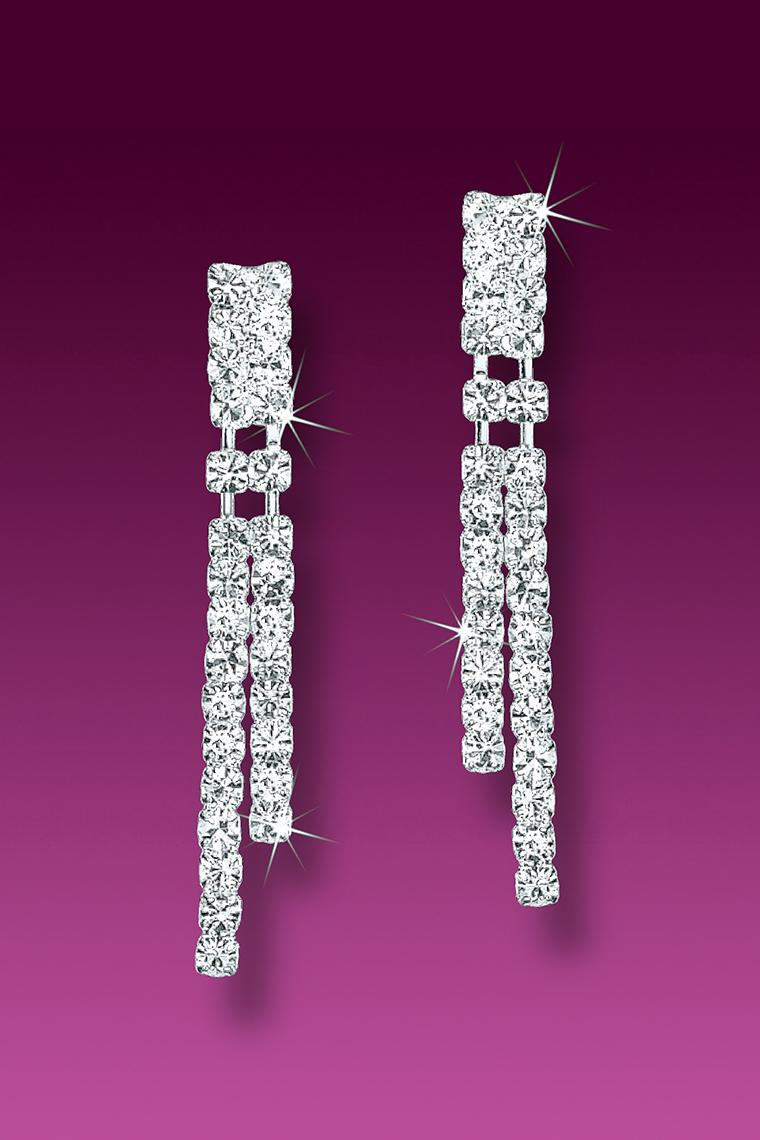 Double Strand Crystal Rhinestone Earrings - Pierced