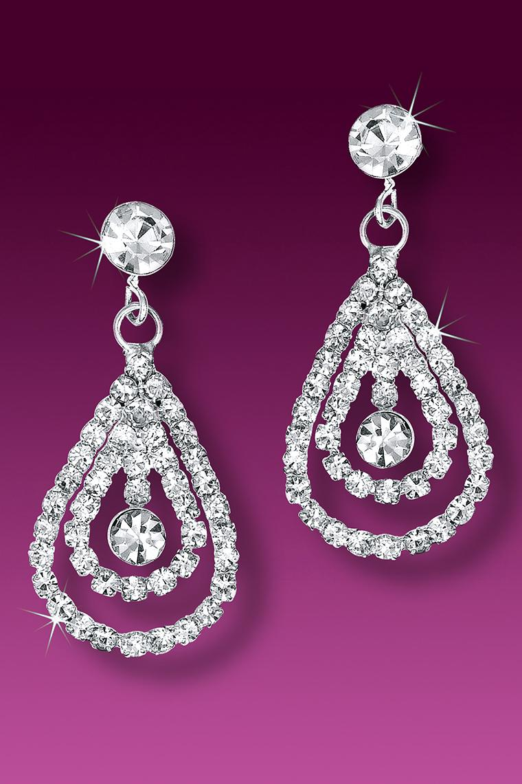 Double Teardrop Crystal Rhinestone Earrings - Pierced