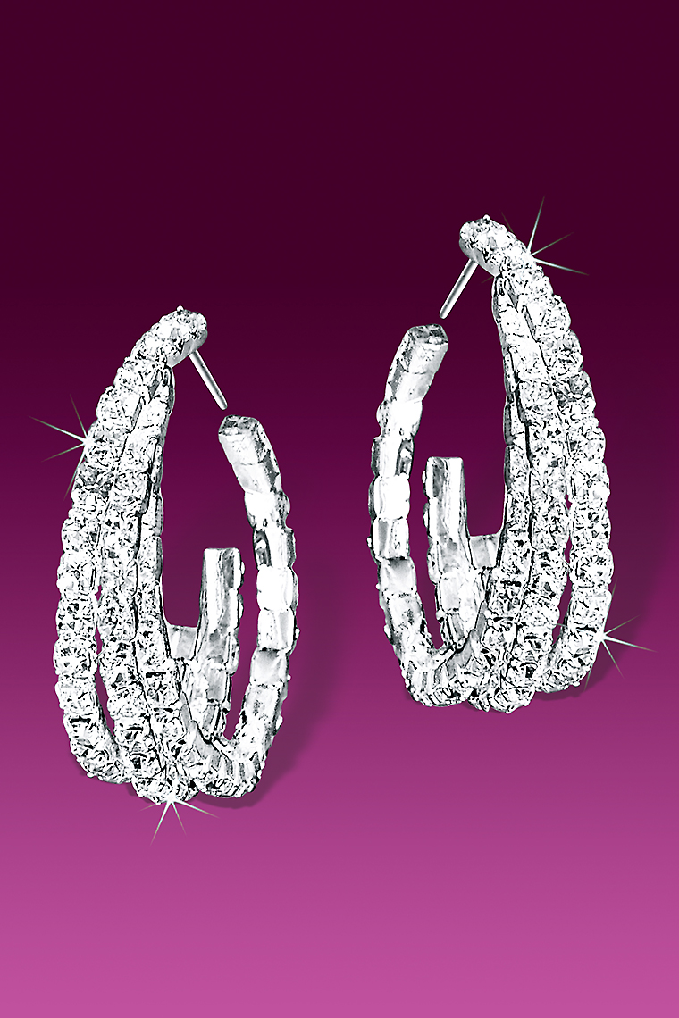 Twisted Hoop Crystal Rhinestone Earrings - Pierced