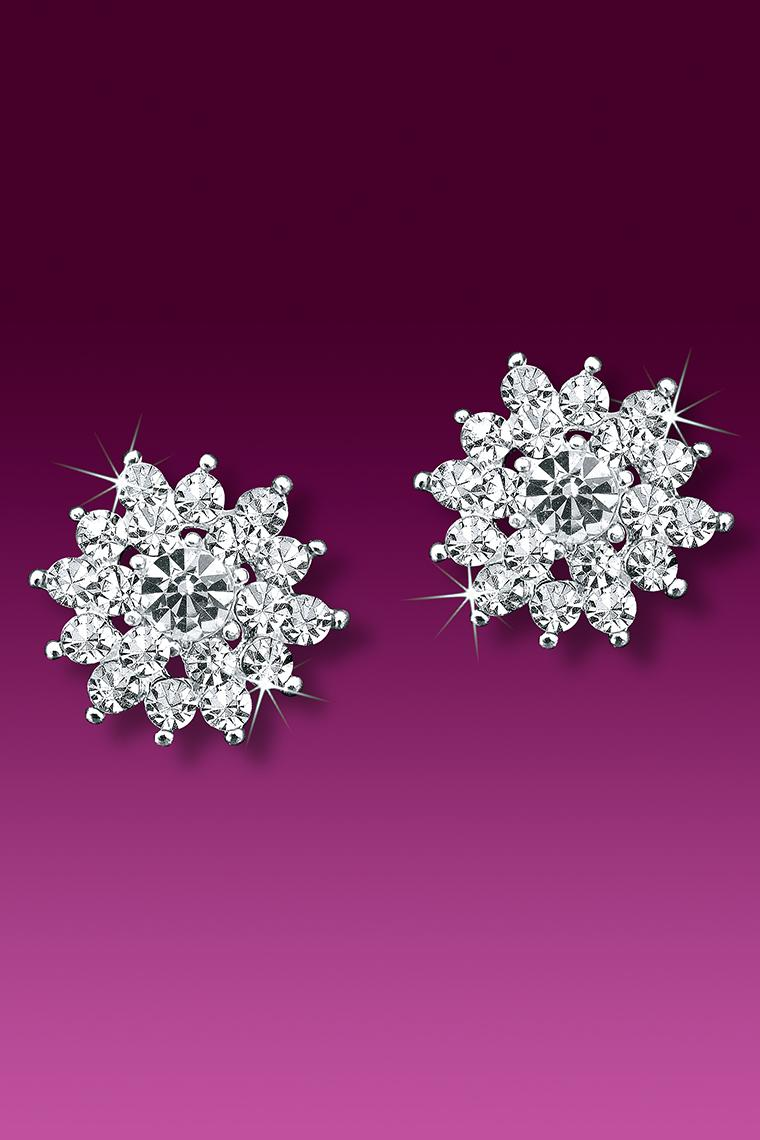 Crystal Sunburst Rhinestone Earrings - Pierced