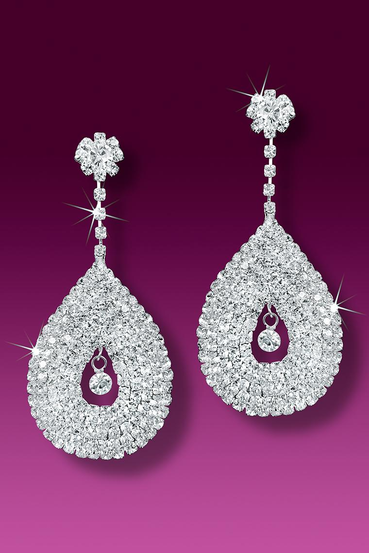 Large Crystal Rhinestone Drop Earrings - Pierced