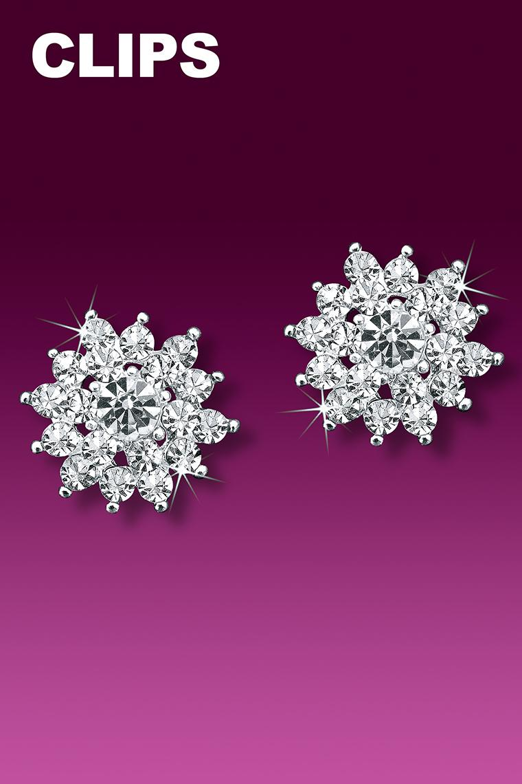 Crystal Sunburst Rhinestone Earrings - Clip-On