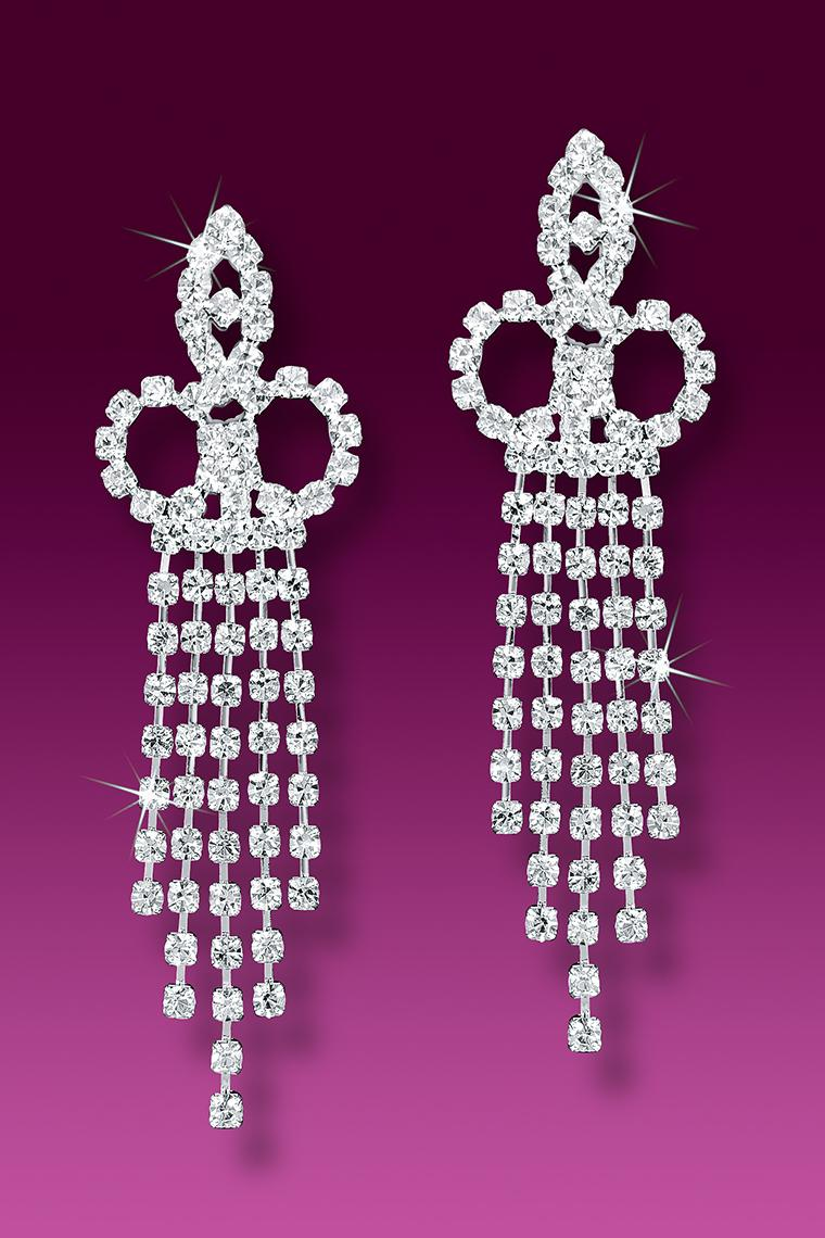 5-Row Crystal Rhinestone Earrings - Pierced