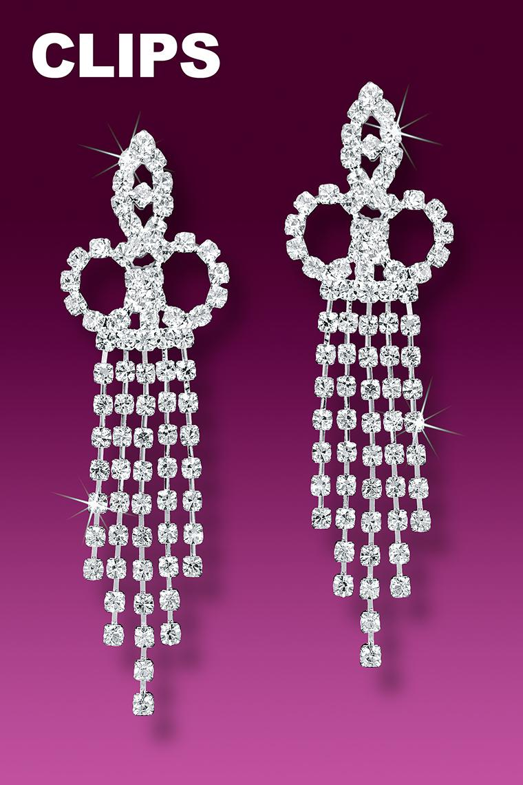 5-Row Crystal Rhinestone Earrings - Clip-On