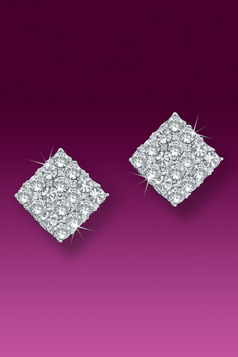 Small Square Crystal Rhinestone Earrings - Pierced