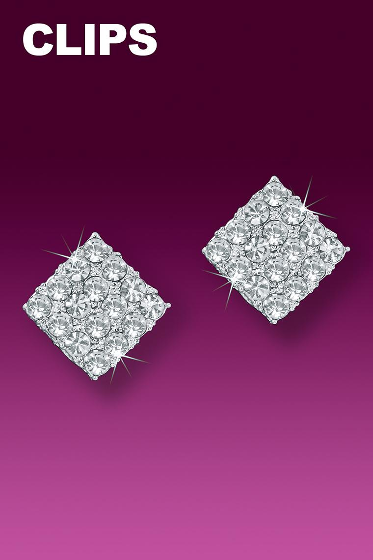 Small Square Crystal Rhinestone Earrings - Clip-On