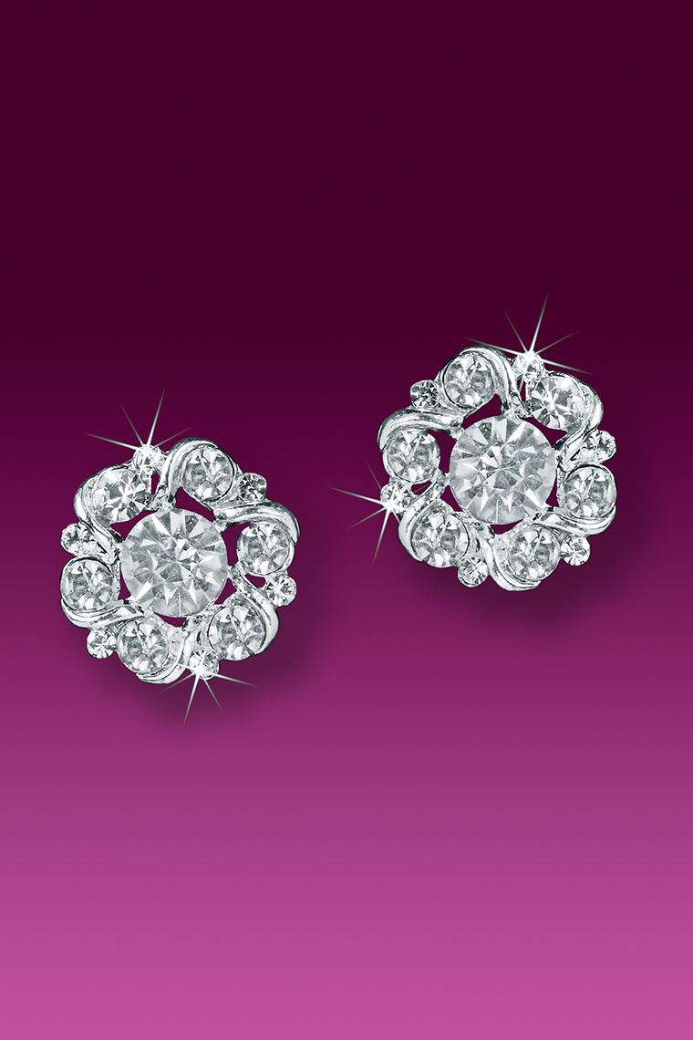 Floret Button Crystal Rhinestone Earrings - Pierced