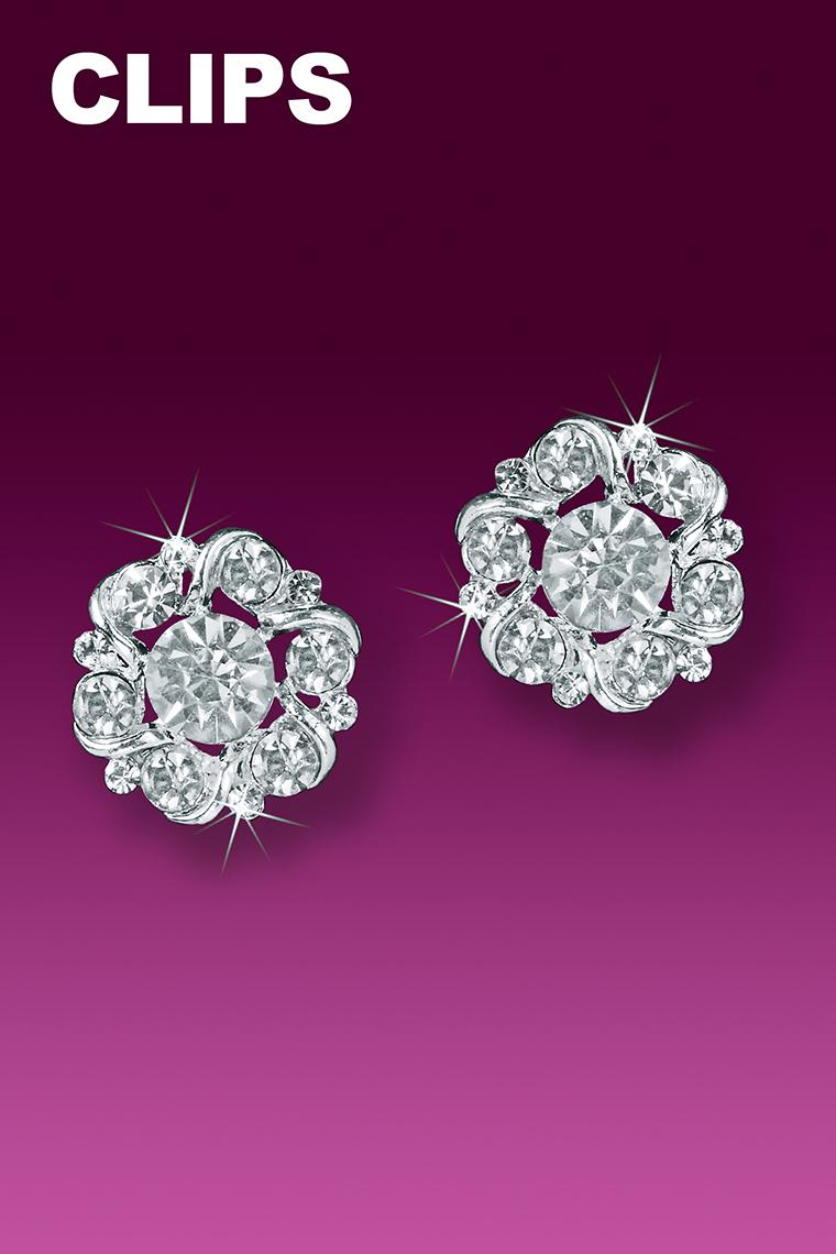 Floret Button Crystal Rhinestone Earrings - Clip-On