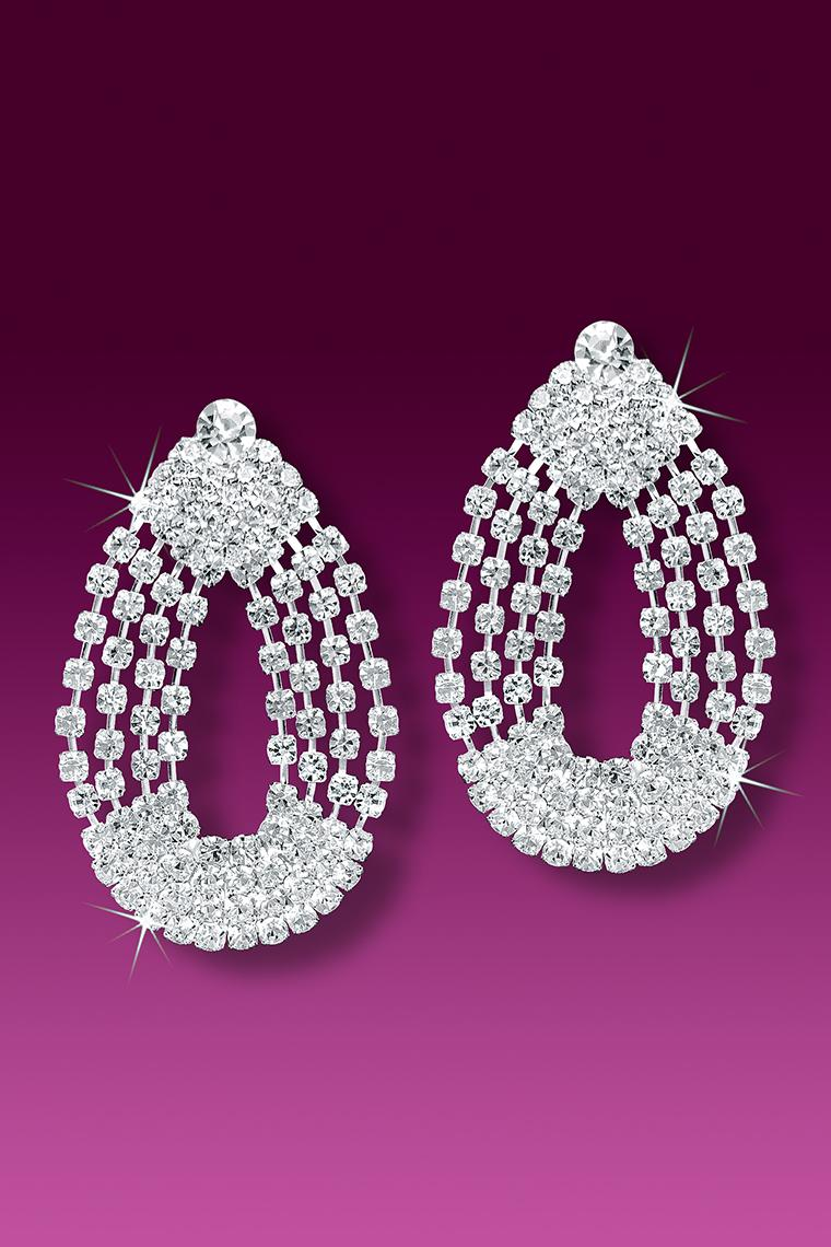 4-Chain Crystal Rhinestone Earrings - Pierced