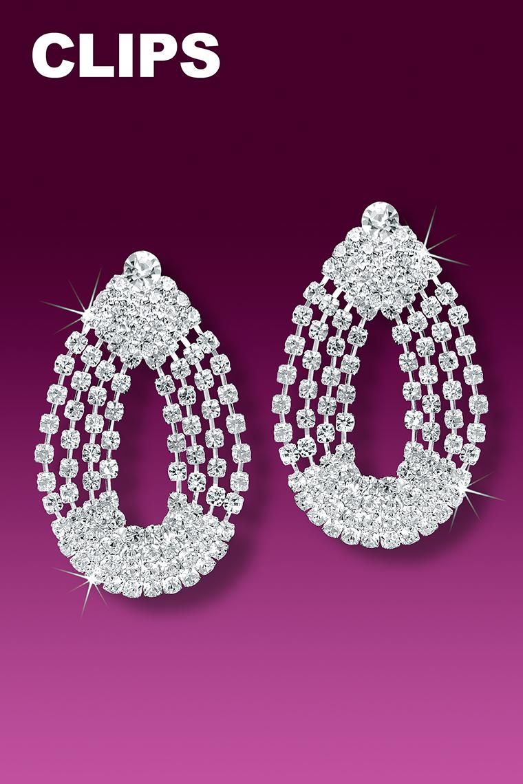 4-Chain Crystal Rhinestone Earrings - Clip-On