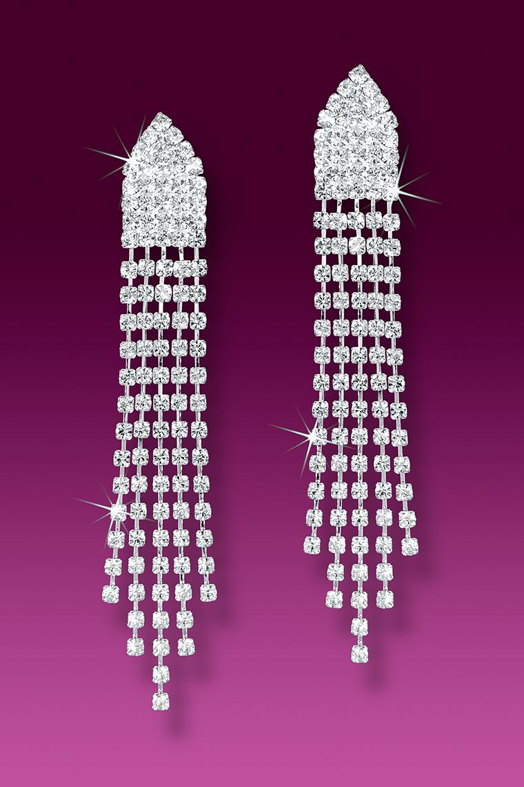 Dazzling Crystal Rhinestone Drop Earrings - Pierced