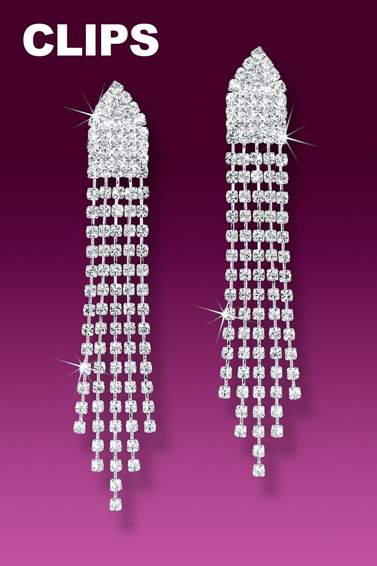 Best Dazzle Crystal Rhinestone Drop Earrings - Clip-On