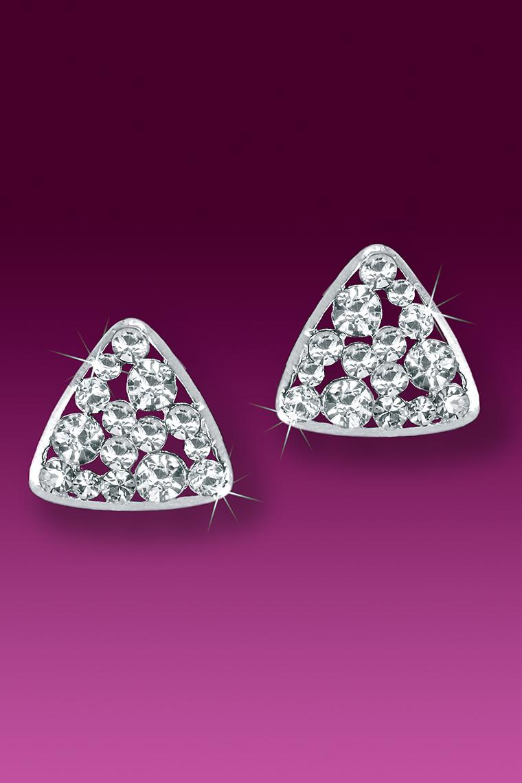Triangular Button Crystal Rhinestone Earrings - Pierced