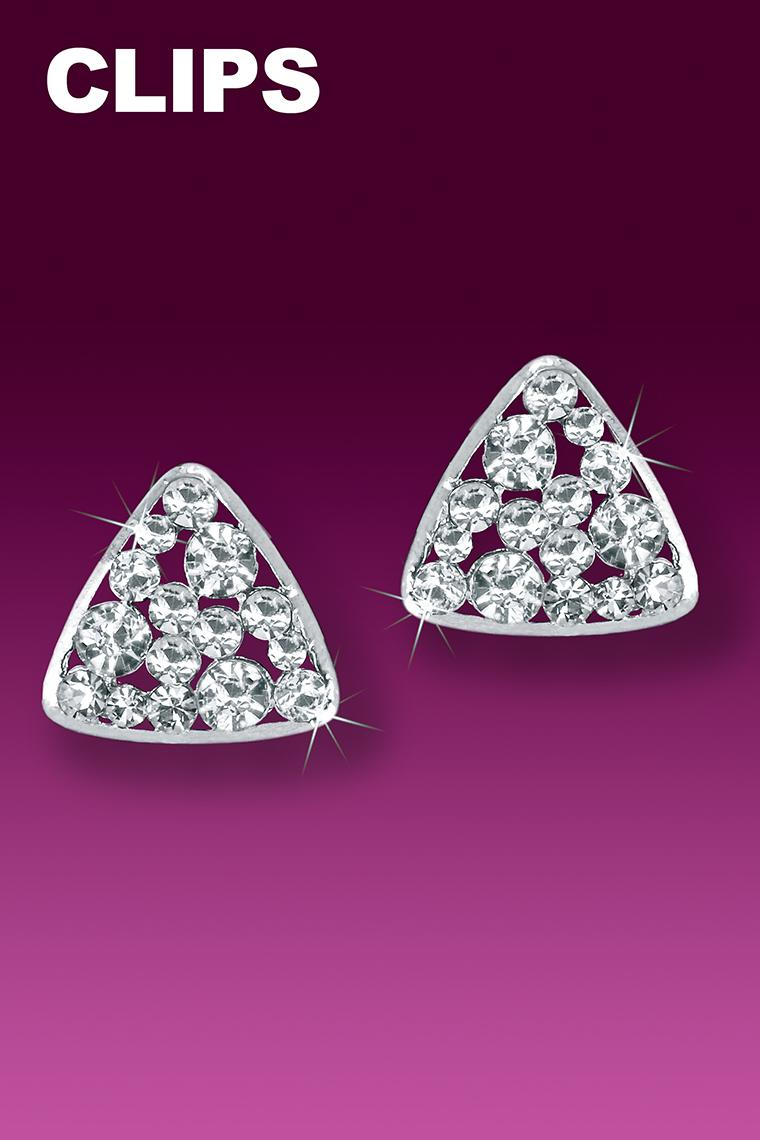 Triangular Button Crystal Rhinestone Earrings - Clip-On