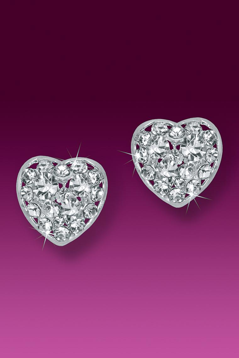 Dazzling Heart Button Rhinestone Earrings - Pierced