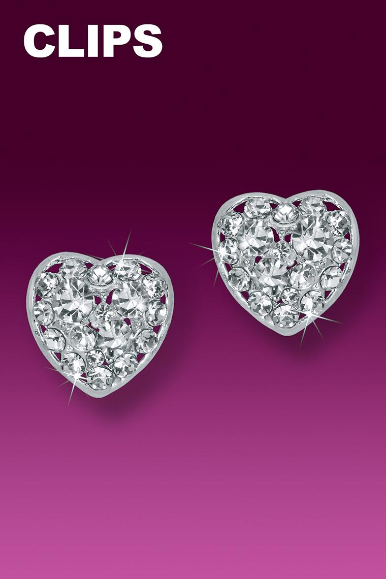 Dazzling Heart Button Rhinestone Earrings - Clip-On