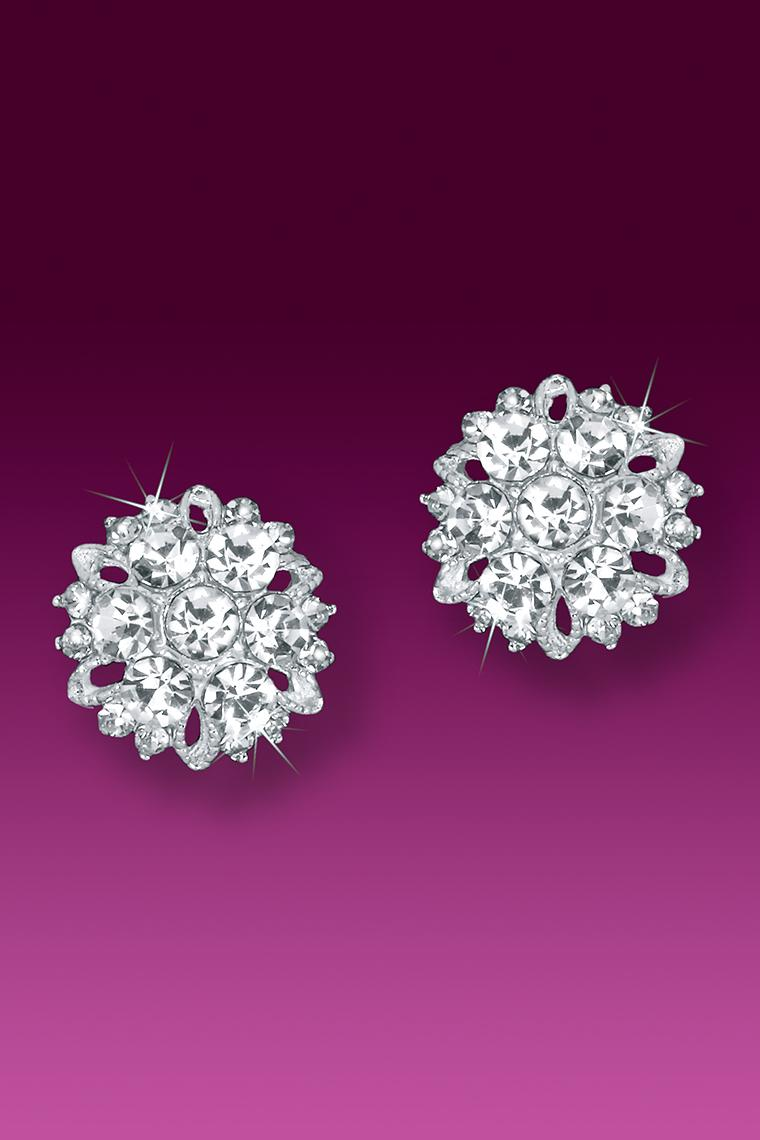 Sparkling Burst Button Rhinestone Earrings - Pierced
