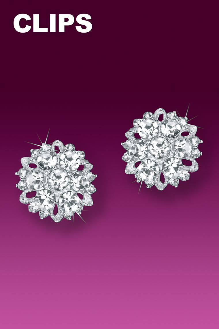 Sparkling Burst Button Rhinestone Earrings - Clip-On