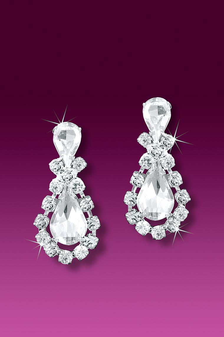 Pear Shaped Rhinestone Drop Earrings - Pierced