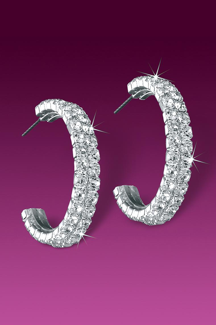 Double Row Crystal Rhinestone Hoop Earrings