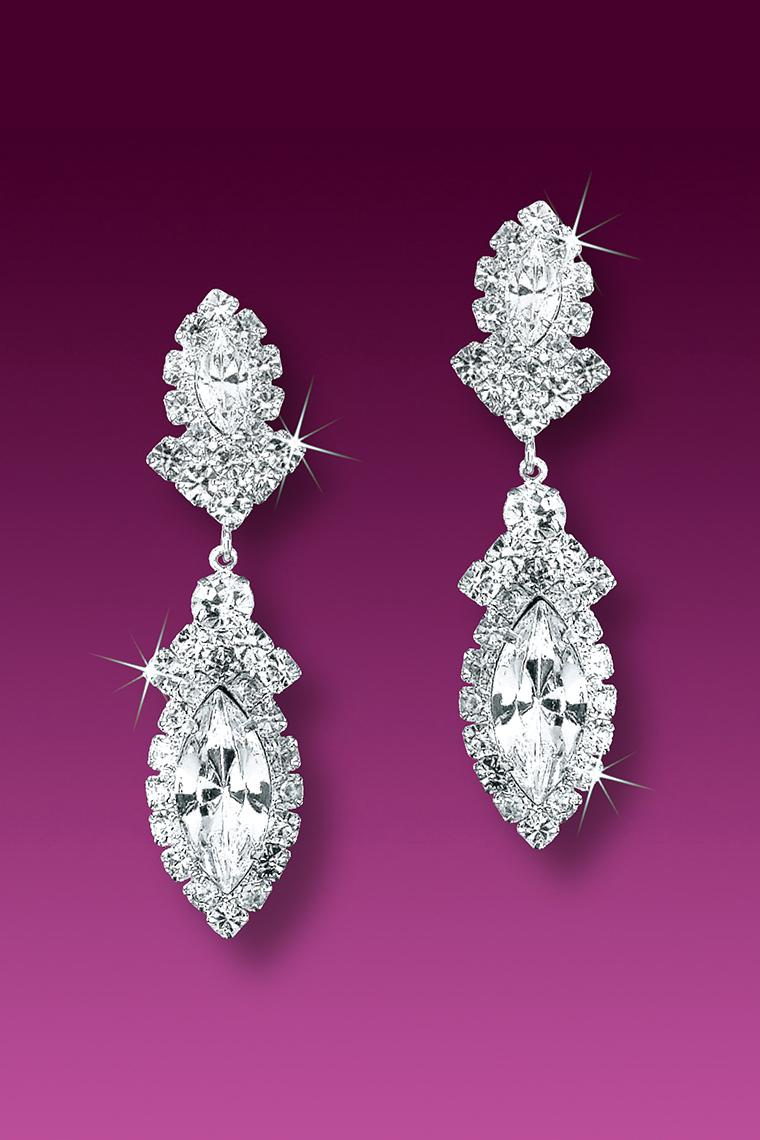 Marquis Jeweled Crystal Rhinestone Drop Earrings