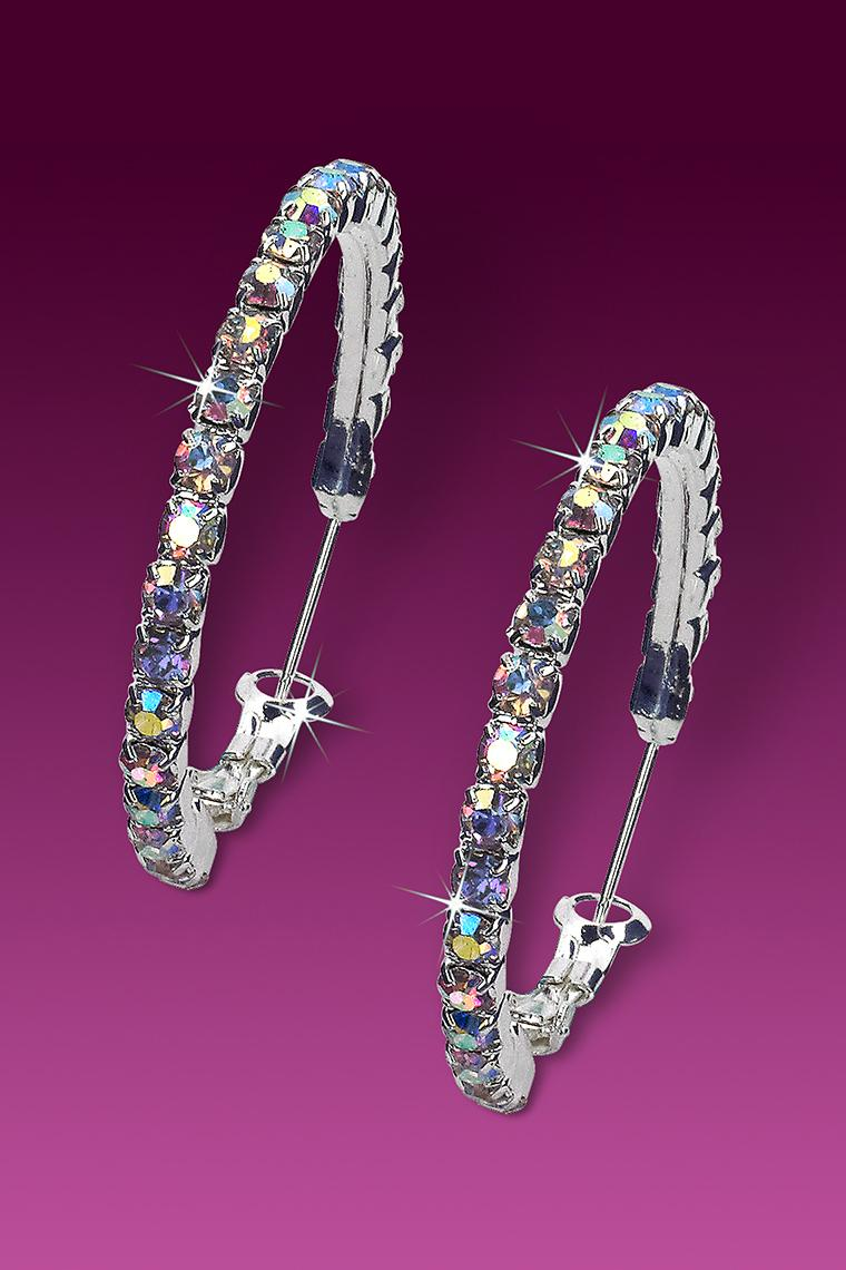 Small Hoop Rhinestone Earrings - Crystal AB Pierced