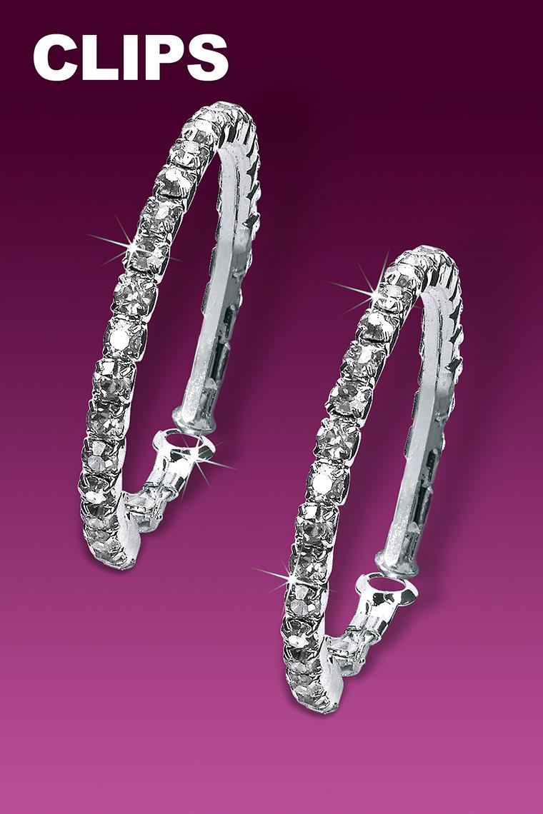Small Hoop Rhinestone Earrings - Crystal Clip-On