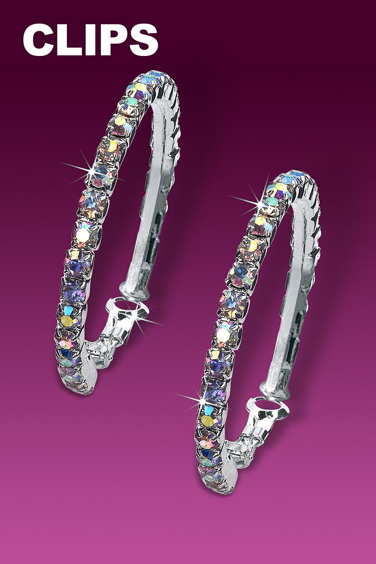 Small Hoop Rhinestone Earrings - Crystal AB Clip-On