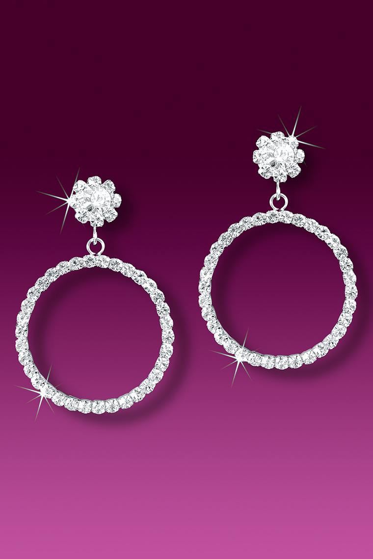 Dangling Hoop Crystal Rhinestone Earrings - Pierced