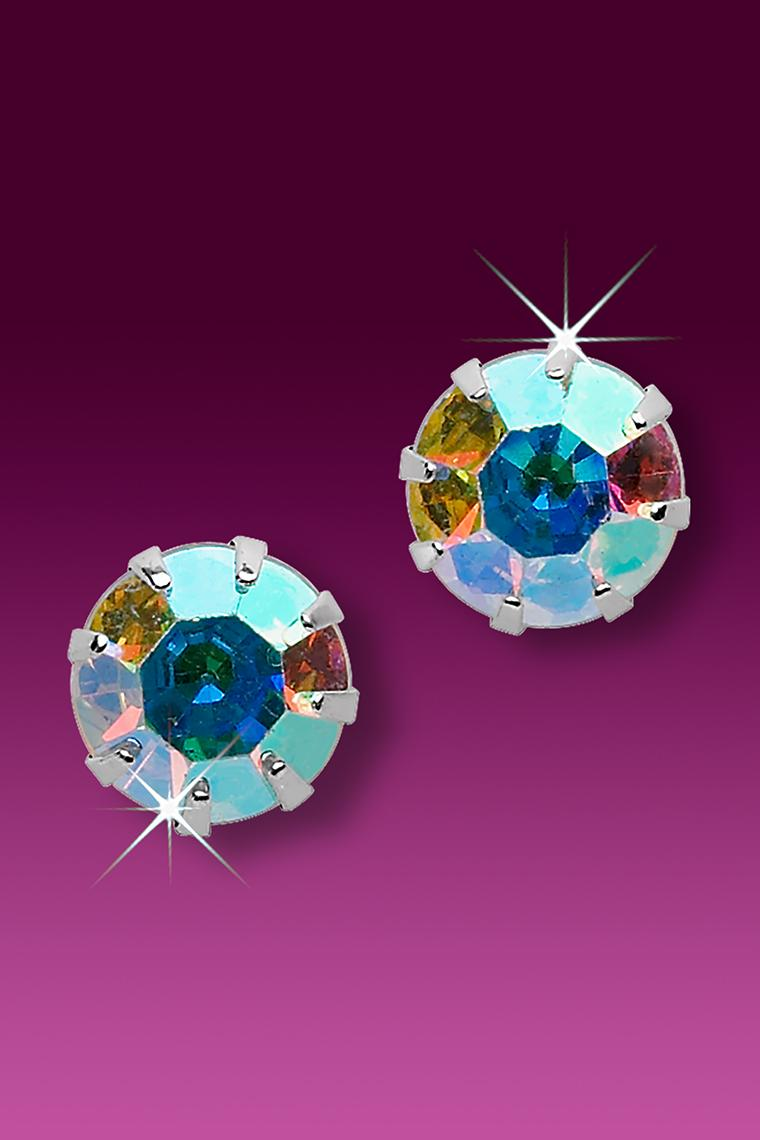 Austrian Crystal AB Rhinestone Stud Earrings - Pierced