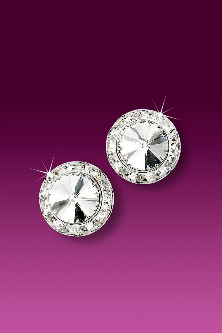 11mm Rhinestone Dance Earrings - Crystal Pierced