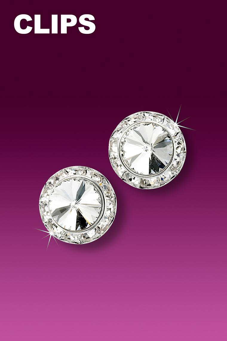 11mm Rhinestone Dance Earrings - Crystal Clip-On