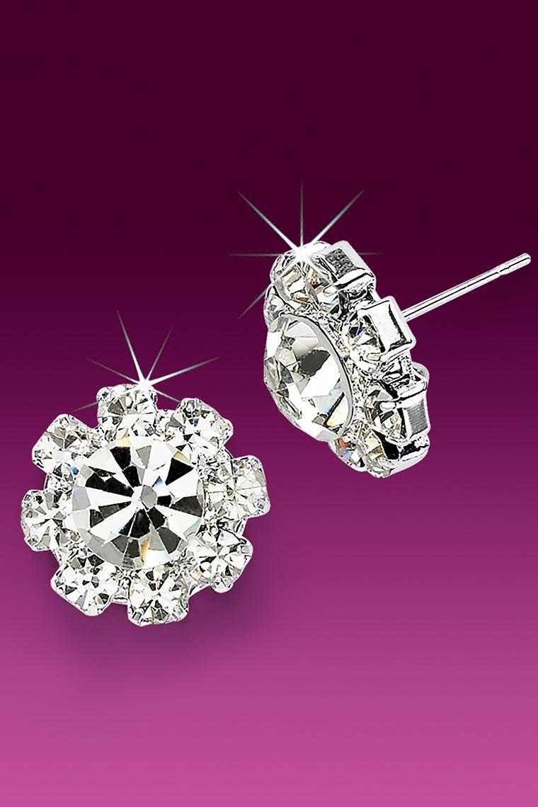 15mm Rhinestone Dance Earrings - Crystal Pierced