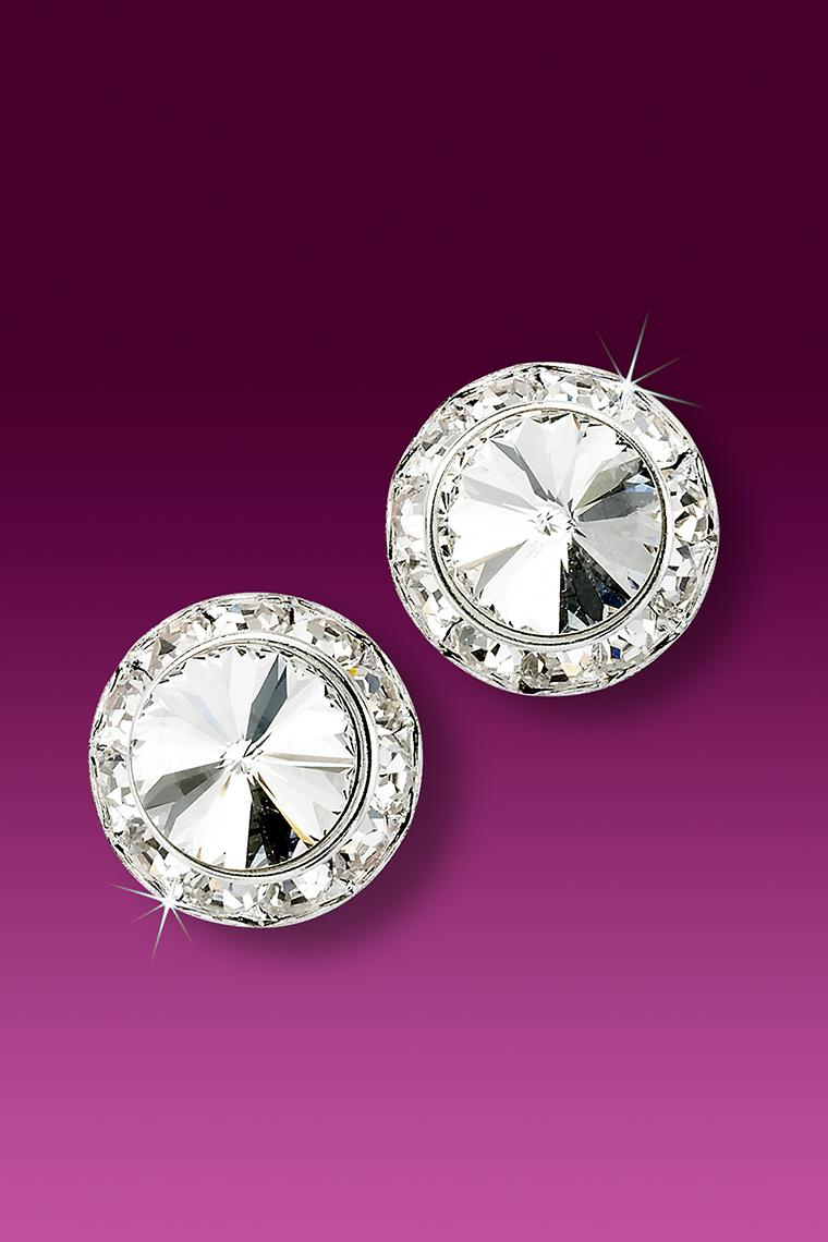 13mm Rhinestone Dance Earrings - Crystal Pierced