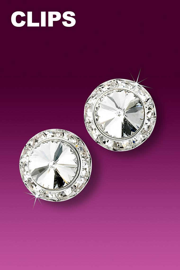 13mm Rhinestone Dance Earrings - Crystal Clip-On
