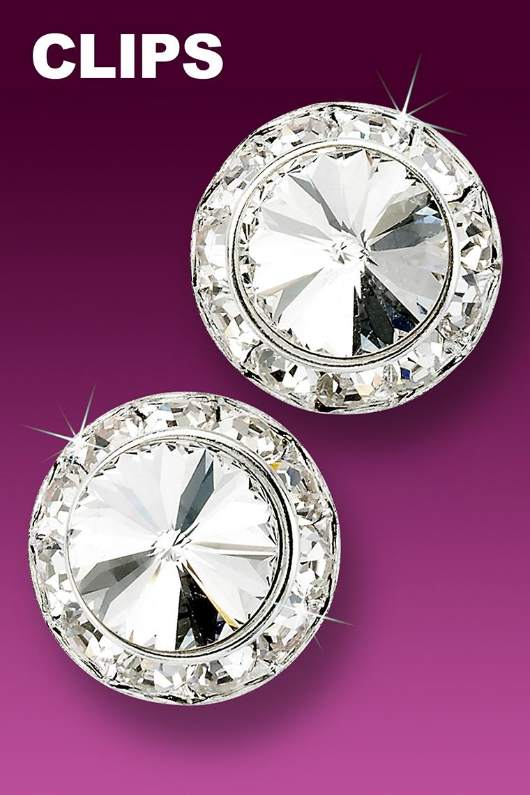 20mm Crystal Rhinestone Dance Earrings - Crystal Clip-On