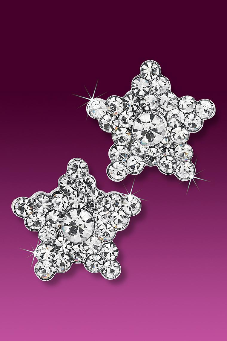 Shining Star Rhinestone Earrings - Crystal Pierced