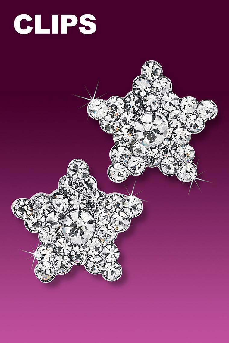 Shining Star Rhinestone Earrings - Crystal Clip-On