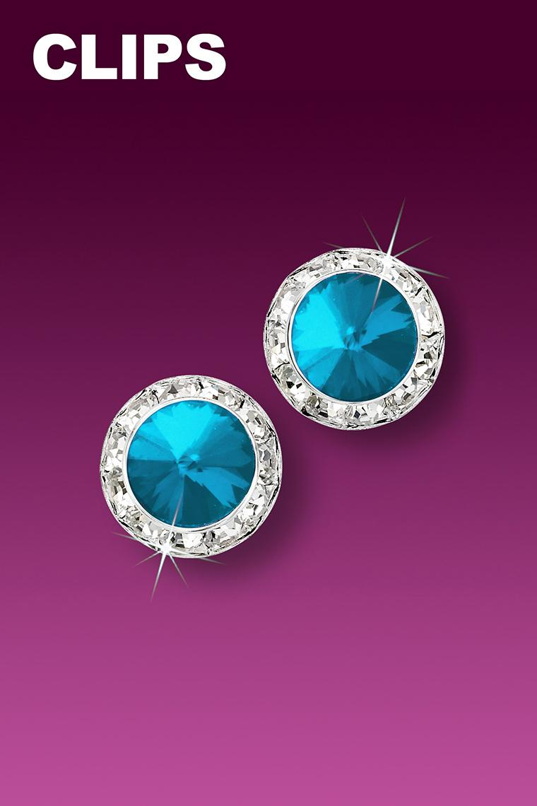 11mm Rhinestone Dance Earrings - Bright Blue Clip-On